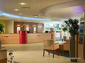 Reception area at the Heathrow Ibis Hotel