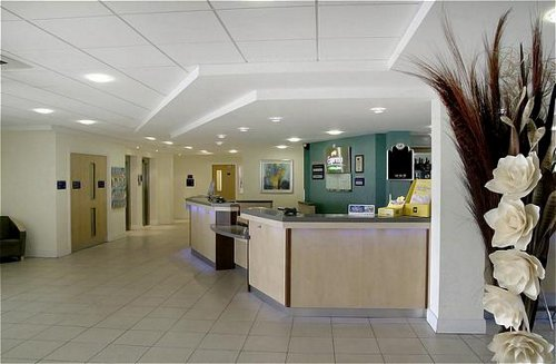 Reception area at the Express by Holiday Inn near Cardiff Airport