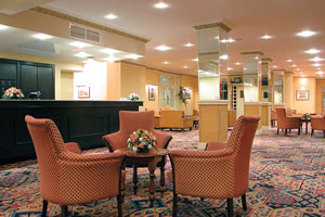 Reception and lobby of the Norbreck Castle Hotel near Blackpool Airport