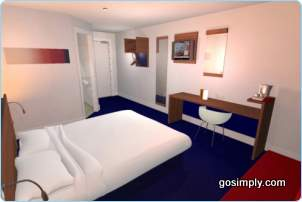 Guest room at the Heathrow Travelodge