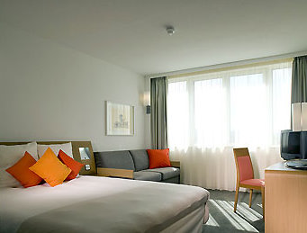 Guest bedroom at the Birmingham Airport Novotel Hotel
