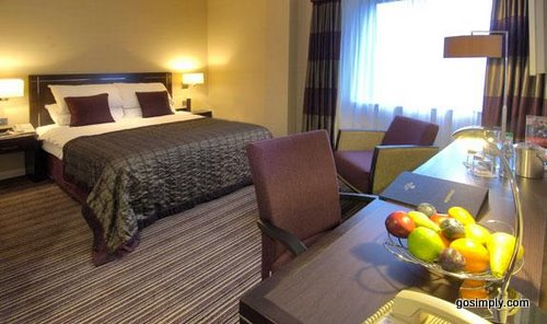Guest room at the Gatwick Crowne Plaza Hotel